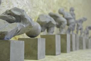 Maquette projectvoorstel 'Keerdijk' in opdracht van gemeente Sint-Michielsgestel - Aluminiumcement en PU hars - 194x34x26cm - Mei 2016 - Laatste selectieronde - Detail